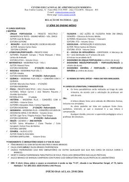 1ª SÉRIE DO ENSINO MÉDIO INÍCIO DAS AULAS: 25/01