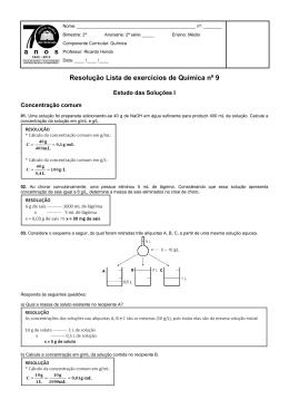 Resolução Lista de exercícios de Química nº 9