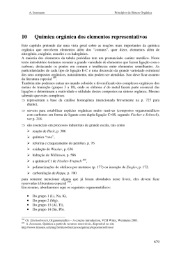 10 Química orgânica dos elementos representativos
