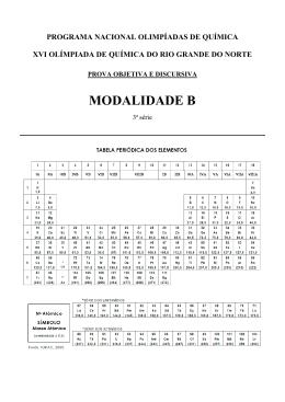modalidade b - Olimpíada de Química do RN