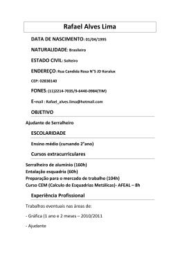 Rafael Alves Lima DATA DE NASCIMENTO: 01/04/1995