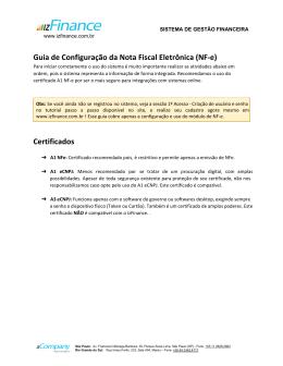 Guia de Configuração da Nota Fiscal Eletrônica (NF-e