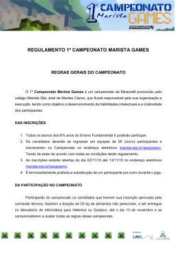 REGULAMENTO 1º CAMPEONATO MARISTA GAMES