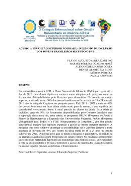 ACESSO À EDUCAÇÃO SUPERIOR NO BRASIL