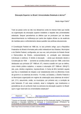 Educação Superior no Brasil: Universidades Estaduais à