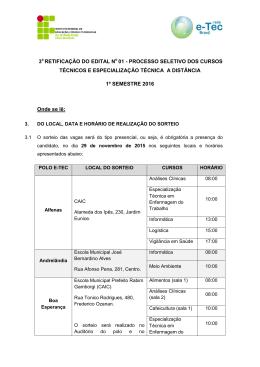 3 RETIFICAÇÃO DO EDITAL N 01 - PROCESSO