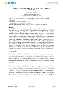 CÁLCULO MENTAL EM FOCO: RECORTE DE UMA PESQUISA DE