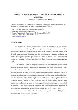ALIMENTAÇÃO EM Apis Mellifera - Revista Brasileira de Higiene e