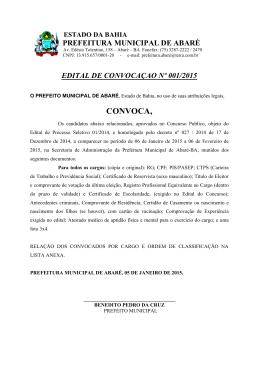 CONVOCA, - Portal da Prefeitura Municipal de Abaré