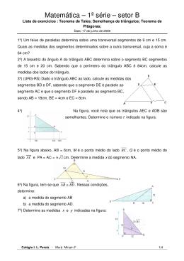 Matemática – 1ª série – setor B