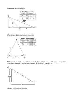 1. Determine x no caso a seguir: 2. No triângulo ABC a seguir