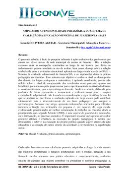 III CONAVE – 22 a 24 de Setembro de 2014 Bauru – São