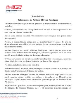 Voto de Pesar Falecimento de António Oliveira
