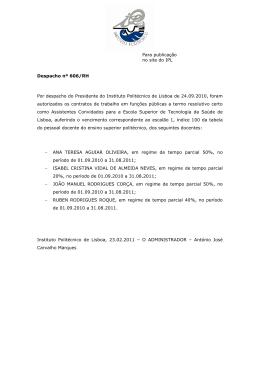 Despacho nº 606/RH - Instituto Politécnico de Lisboa