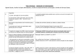 TIRA DÚVIDAS – REMOÇÃO DE SERVIDORES Agente Escolar