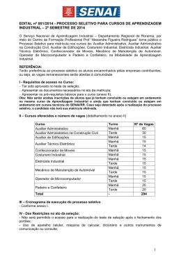 processo de seleção para os cursos de aprendizagem - SENAI-RR
