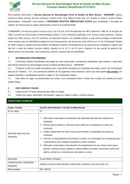 processo seletivo Simplificado 01/2015