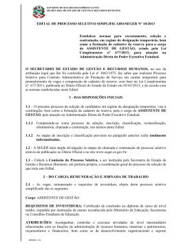 EDITAL SEGER N 10 - Governo do Estado do Espírito Santo