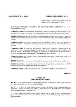 Resolução GPGJ nº 1.695, de 21 de Novembro de 2011