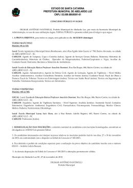 edital de homologação preliminar das inscrições