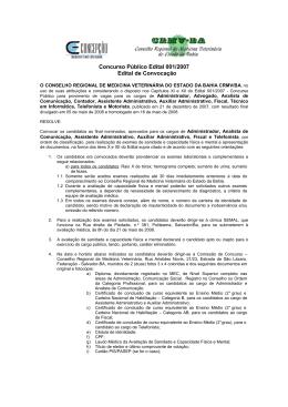 Concurso Público Edital 001/2007 Edital de Convocação - CRMV