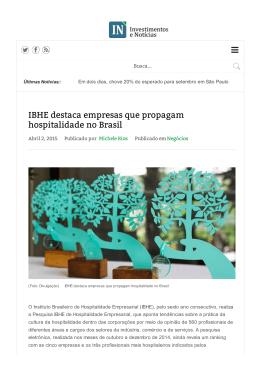 IBHE destaca empresas que propagam hospitalidade no Brasil