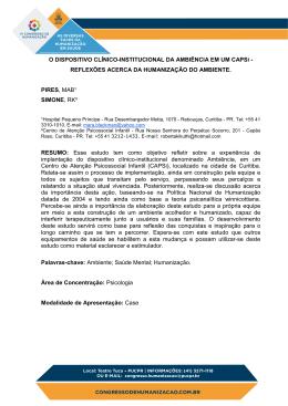 O DISPOSITIVO CLÍNICO INSTITUCIONAL DA AMBIÊNCIA EM UM