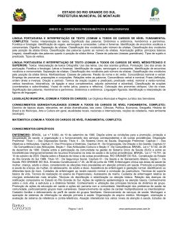 Anexo III- Conteúdos... - Prefeitura Municipal de Montauri/RS