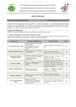 SELEÇÃO 2012 - Núcleo de Arte e Cultura da UFRN