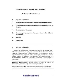 INTERNET Professora: Sandra Franco 1. Adjunto Adnominal. 2