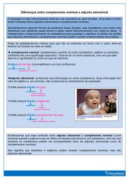 Diferenças entre complemento nominal e adjunto adnominal