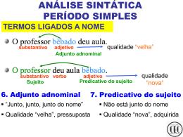 ANÁLISE SINTÁTICA PERÍODO SIMPLES