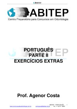 PORTUGUÊS PARTE II EXERCÍCIOS EXTRAS Prof. Agenor Costa