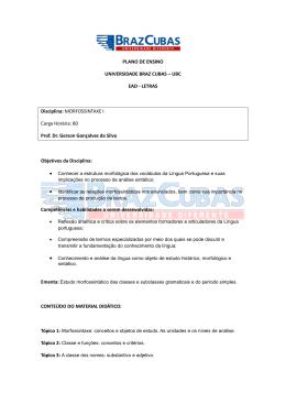 PLANO DE ENSINO UNIVERSIDADE BRAZ CUBAS