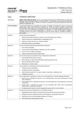 Questionário - Proficiência Clínica