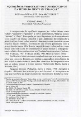 AQUISIÇÃO DE VERBOS FATlVOS E CONTRAFATlVOS E