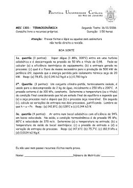 MEC 1301: TERMODINÂMICA Segundo Teste: 16/11 - PUC-Rio