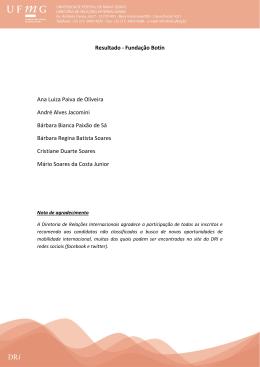 Resultado - Fundação Botín Ana Luiza Paiva de Oliveira André