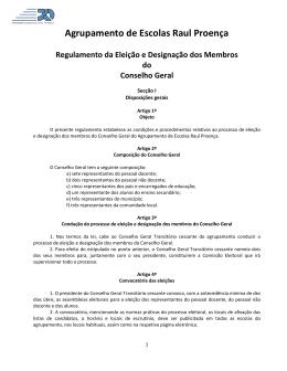 Agrupamento de Escolas Raul Proença Regulamento da Eleição e
