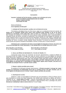 Convocatória - Agrupamento de Escolas José Maria dos Santos
