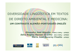 Diversidade Lingüística em Textos de Direito Ambiental e Medicina