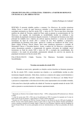CIDADE PINTADA PELA LITERATURA: TERESINA A PARTIR DO