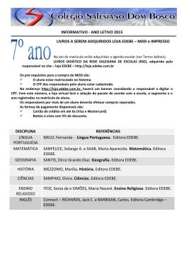 7º ANO - LISTA LIVROS 2015