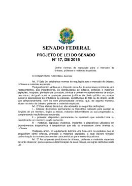 PROJETO DE LEI DO SENADO Nº 17, DE 2015