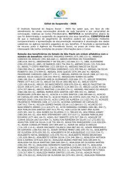 Edital de Suspensão - INSS O Instituto Nacional do Seguro Social œ