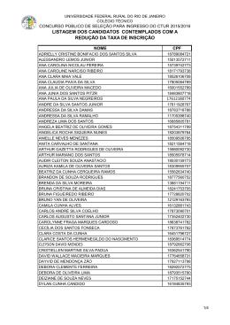 listagem dos candidatos contemplados com a redução da