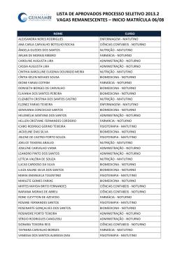lista de aprovados processo seletivo 2013.2 vagas remanescentes