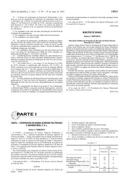 Aviso n.º 6207/2014 - Câmara Municipal de Vinhais