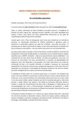 BAIXA POMBALINA A PATRIMÓNIO MUNDIAL: AINDA