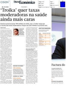 `Troika` quer taxas moderadoras na saúde ainda mais caras